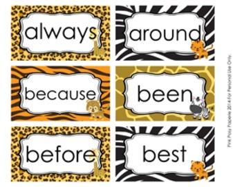 Jungle Safari Animals Dolch 2nd Grade Sight Words