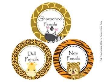 Jungle Safari Animals Pencil Caddy Labels