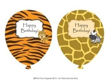 Jungle Safari Birthday Balloons (4 different designs)