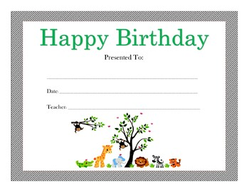 Jungle-Safari Birthday Certificates (Includes 4 Certificates)