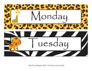 Jungle Safari Calendar Set - Months - Days - Numbers