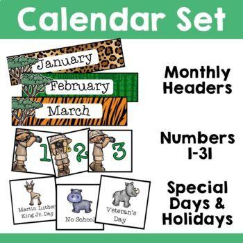 Jungle Safari Theme: Calendar Set and Days of the Week Display
