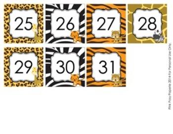 Jungle Safari Classroom Decor Calendar Numbers