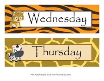 Jungle Safari Classroom Decor Days of the Week Calendar Headers
