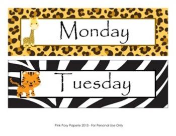 Jungle Safari Classroom Decor Days of the Week Calendar Headers