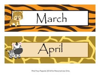 Jungle Safari Classroom Decor Monthly Calendar Headers
