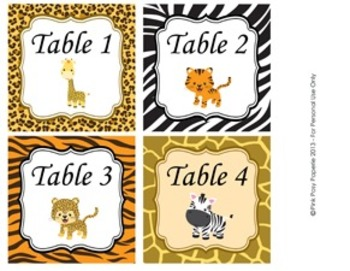 Jungle Safari Classroom Decor Table Number Tags