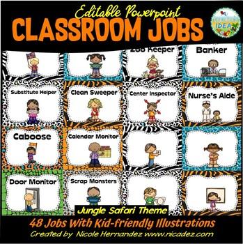 Classroom Jobs {EDITABLE Jungle Safari Themed}
