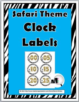 Jungle Theme Classroom Decor - Telling Time - Clock Labels