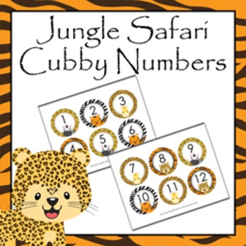 Jungle Safari Cubby Number Labels 1-30