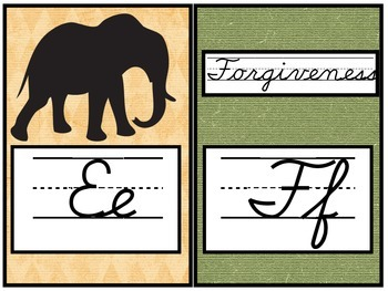 Jungle Safari Cursive Alphabet line
