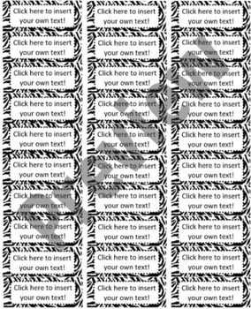 "Jungle/Safari Editable Avery Labels- #5160 (1"" x 2 5/8"")"