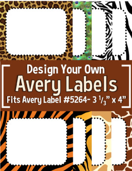 "Jungle/Safari Editable Avery Labels- #5264 (3 1/3"" x 4"")"