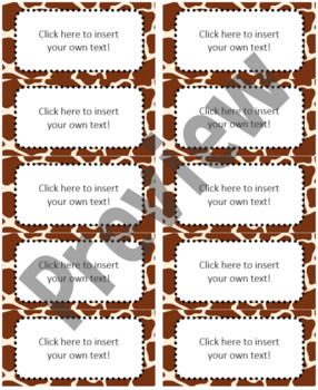 "Jungle/Safari Editable Avery Labels- #8163 (2"" x 4"")"
