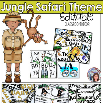 Jungle Safari Classroom Decor Editable