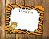 Jungle Safari Flat Thank You Note Cards
