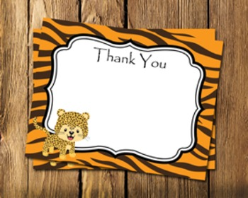 Jungle Safari Flat Thank You Note Cards
