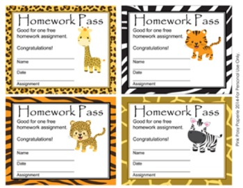 Jungle Safari Homework Passes