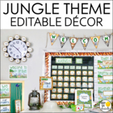 Jungle Theme Classroom Decor Bundle, Calendar, Word Wall, Schedule, Banners
