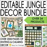 Jungle Theme Classroom Decor Bundle, Calendar, Word Wall, Schedule, Banners