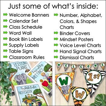Jungle Theme Classroom Decor Bundle: Editable Classroom Themes Decor Bundle