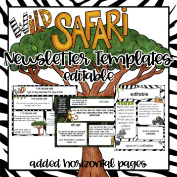 Jungle/Safari Newsletter Templates ~ Editable