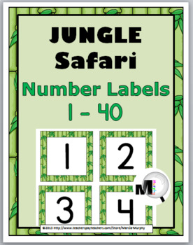 Jungle Safari Theme Classroom Decor - Number Labels 1 - 40