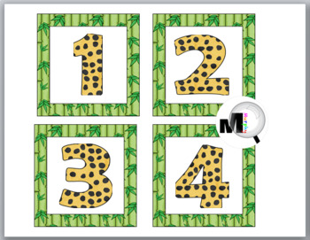 Jungle Safari Theme Classroom Decor Number Labels 1 – 40 with Jungle Numbers