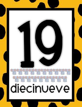 Jungle Safari Number Posters - Spanish Version