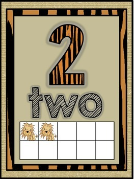 Jungle Safari Number Word Posters (0-10)