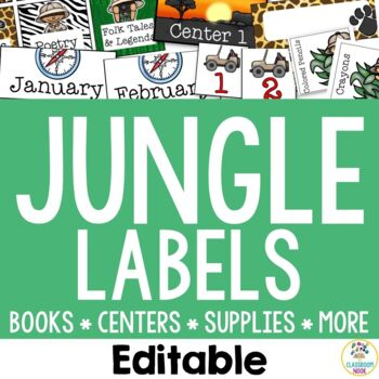 Jungle Safari Theme:  Organization Cards and Labels (Editable)
