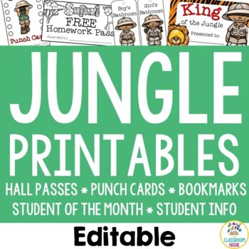 Jungle Safari: Student Essentials (punch cards, HW pass, hall passes and more!)