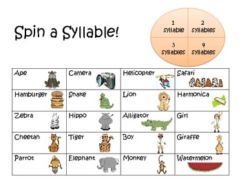 Jungle Safari Syllables