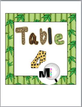 Jungle Theme Classroom Decor Table Numbers