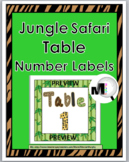 Jungle Theme Classroom Decor Table Numbers