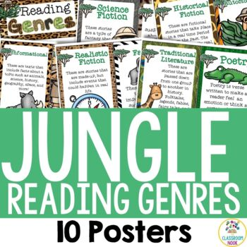Jungle Safari Theme: 10 Reading Genre Posters