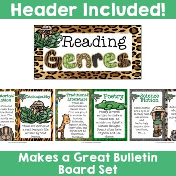 Jungle Safari Theme: 10 Reading Genre Posters