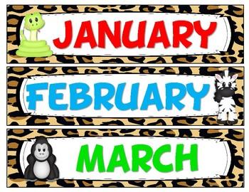 Jungle Safari Theme Calendar & Birthday Kit