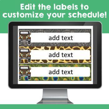 Jungle Safari Theme: Class Schedule Display (Editable)