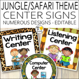 Jungle Theme Center Signs - Jungle Theme Classroom Decor