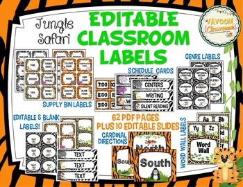 Jungle Safari Theme Classroom Labels Kit (Editable)