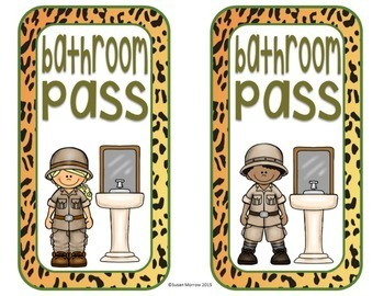 Jungle Theme Hall Passes - Jungle Theme Classroom Decor