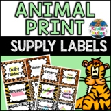 Jungle / Safari Theme Animal Print Classroom Supply Labels EDITABLE