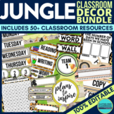 JUNGLE THEME Classroom Decor - EDITABLE Clutter-Free Classroom Decor BUNDLE