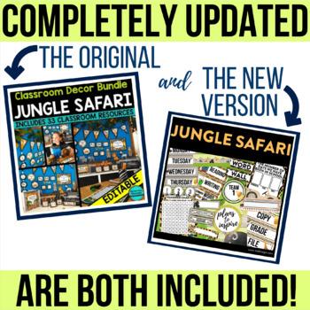 JUNGLE THEME Classroom Decor - EDITABLE Clutter-Free Classroom Decor BUNDLE