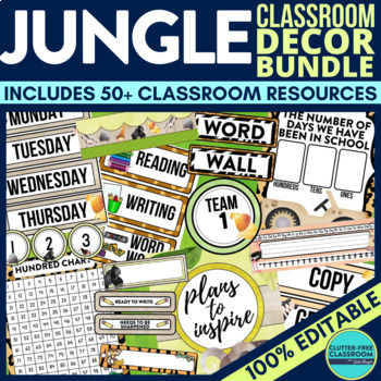 Jungle Theme Classroom Decor Bundle Safari Zoo By Clutter Free