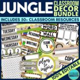 JUNGLE THEME Classroom Decor - EDITABLE Clutter-Free Class