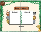 Jungle Safari Theme Lunch Menu / Dry Erase / Elementary Cl