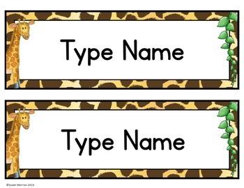 Jungle Theme Name Plates Editable Jungle Themed Classroom Decor