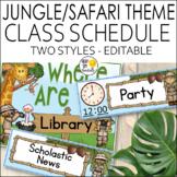 Jungle Theme Schedule Cards - Editable! Jungle Themed Classroom Decor